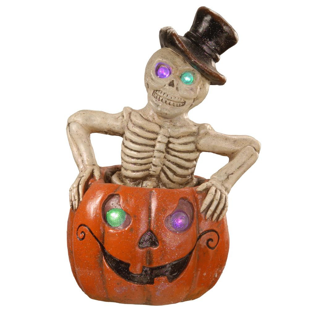 15 in. Pumpkin and Skeleton Decor with Battery LED