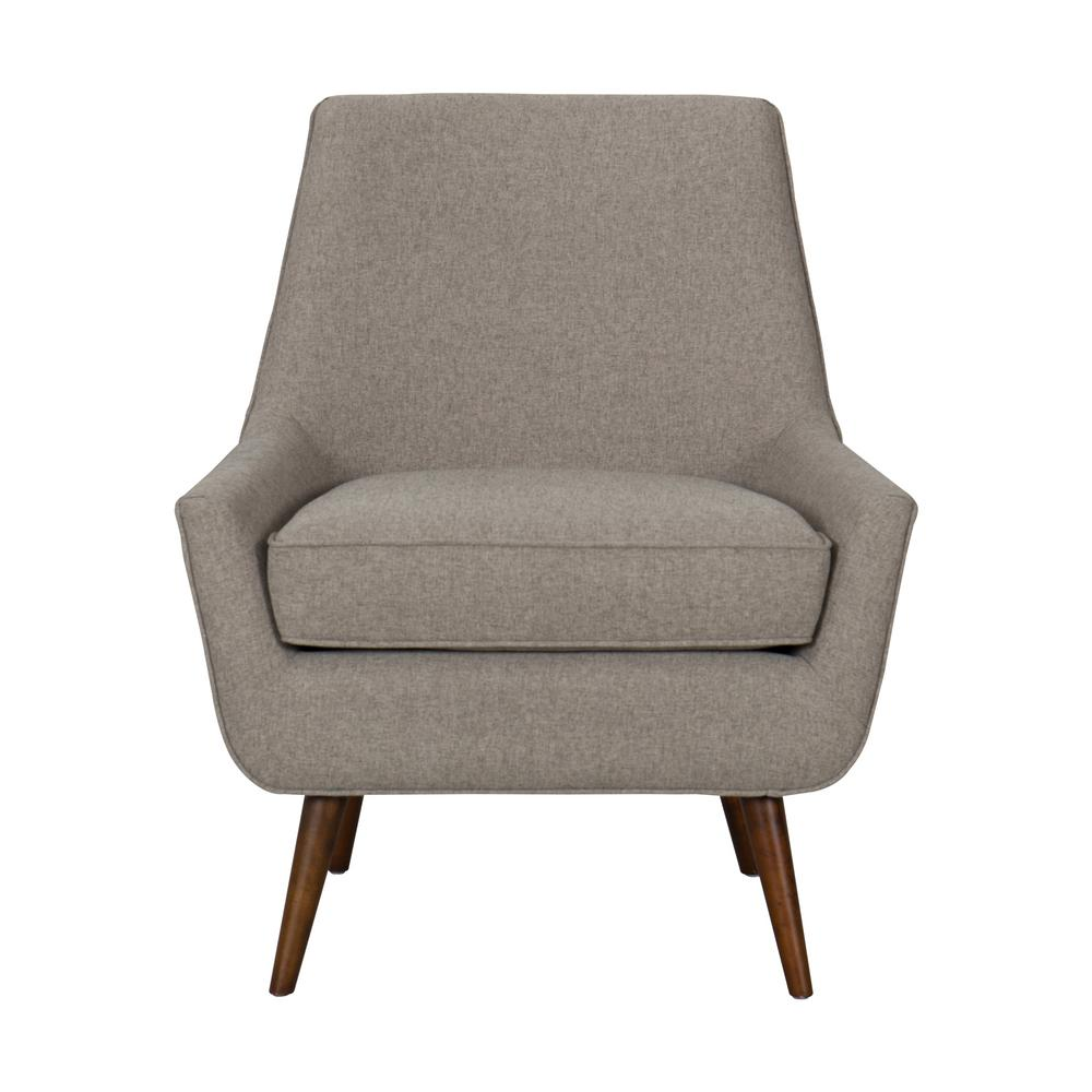 Brushed light brown dean modern accent chair with ottoman