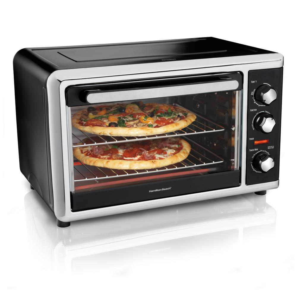 Countertop Toaster Oven Black with Convection and Rotisserie