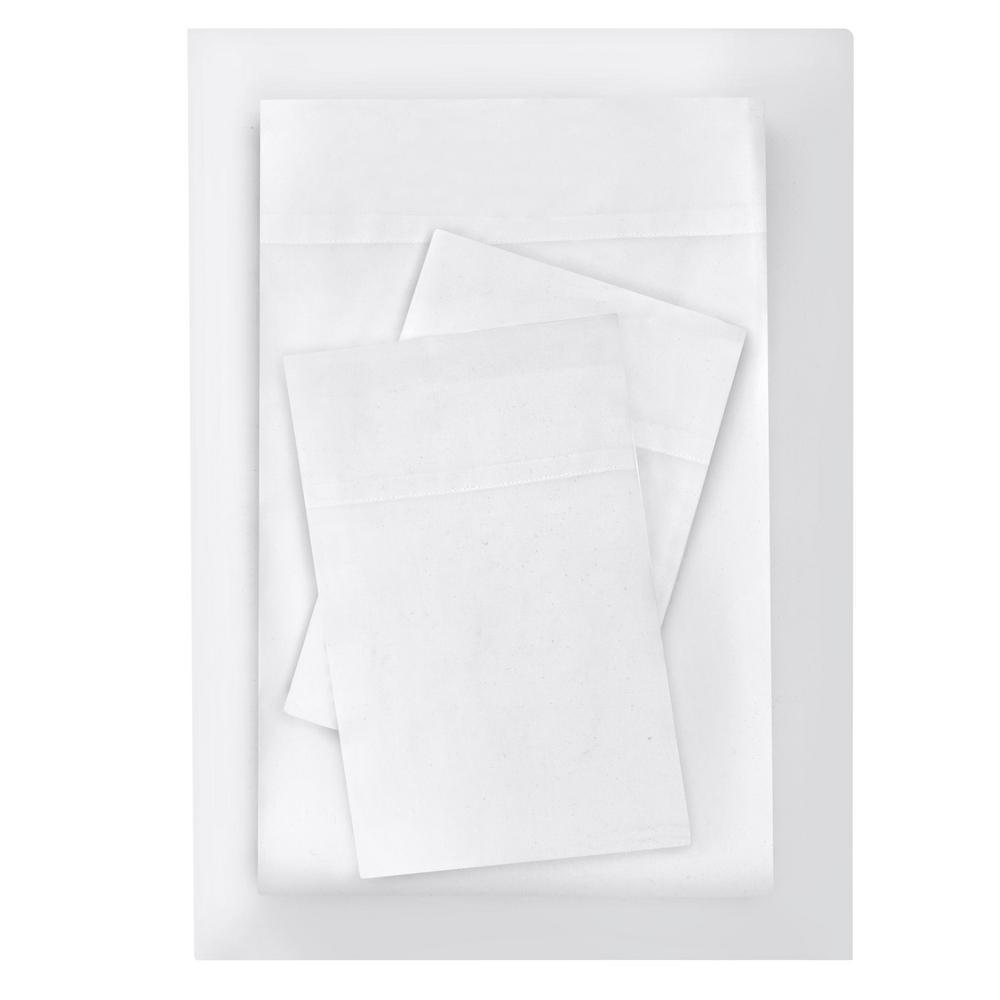 Brushed Microfiber 3-Piece Twin XL Sheet Set in White
