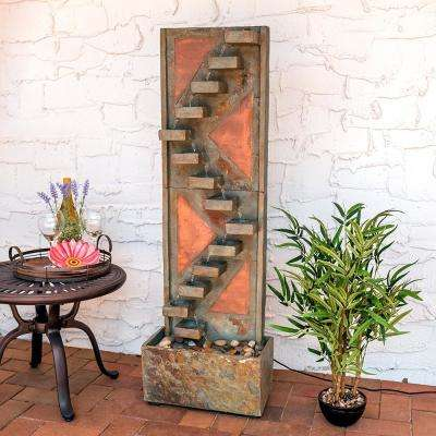 48 in. Slate Staircase Cascade Fountain with Copper Accents and LED Spotlight