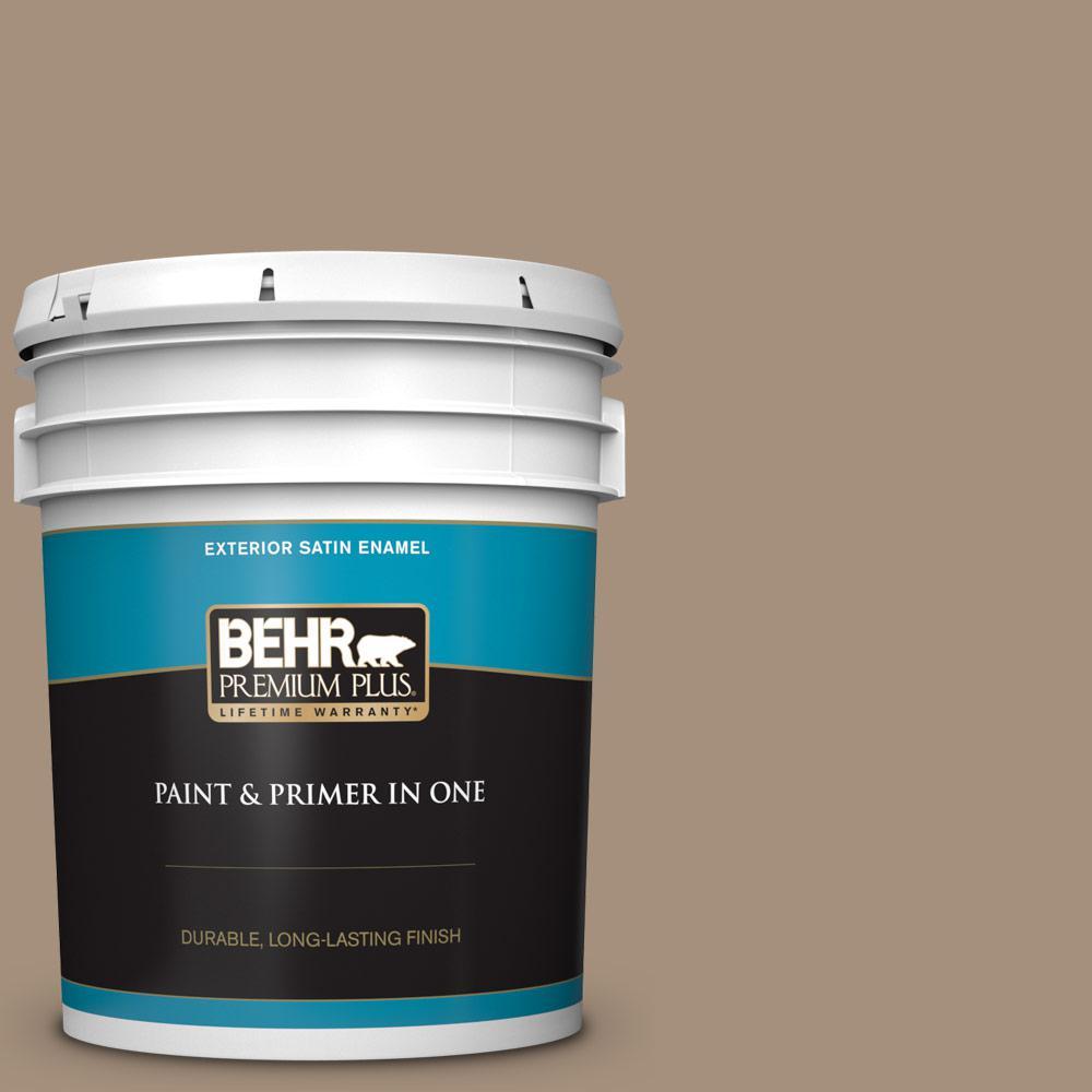 Behr Premium Plus 5 Gal Ecc 58 1 Farmyard Satin Enamel Exterior Paint And Primer In One 934005 The Home Depot