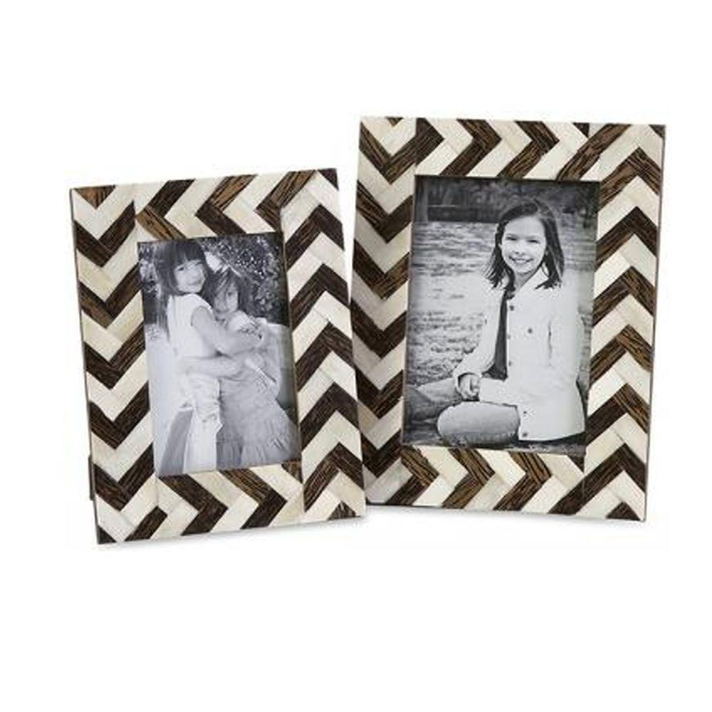 Chevron 1-Opening Multiple Sizes Brown/White Matted Picture Frames (Set of 2)