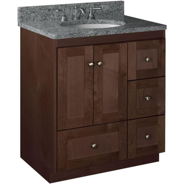 Shaker 30 in. W x 21 in. D x 34.5 in. H Vanity with Right Drawers Cabinet Only in Dark Alder
