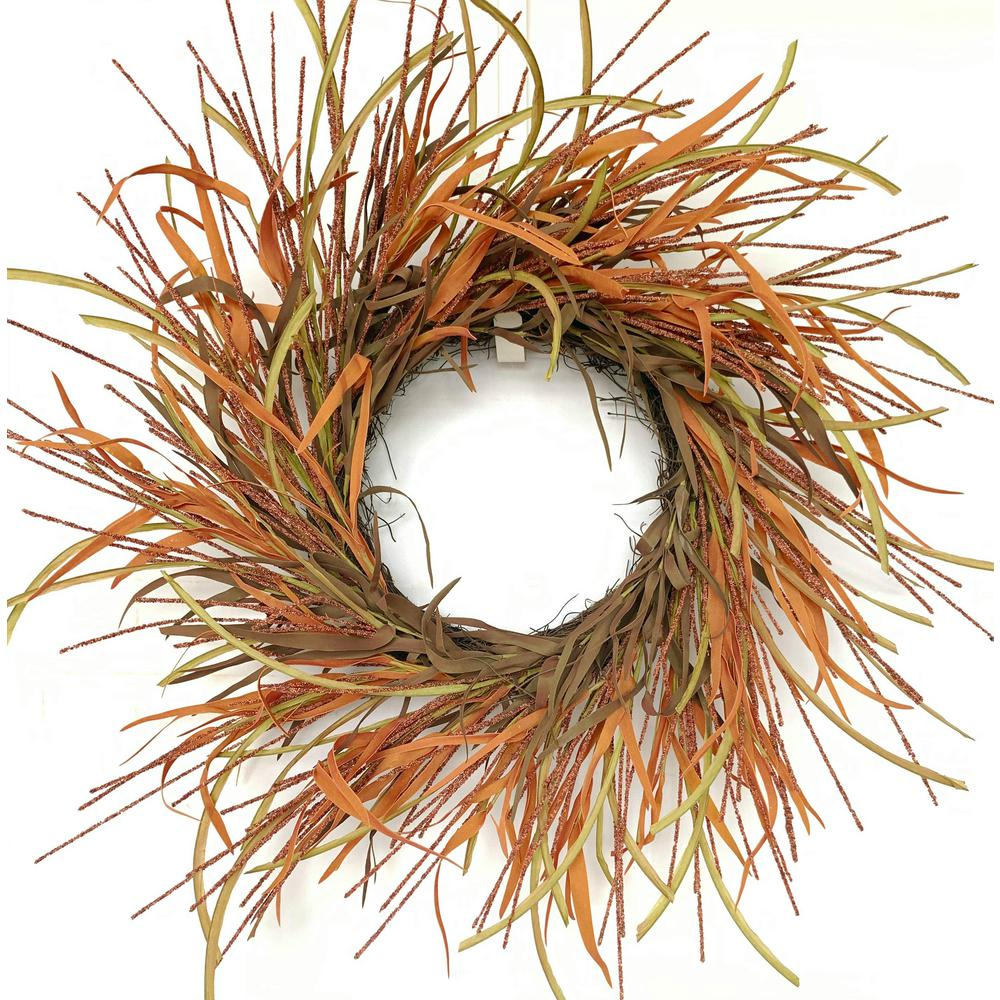 Glitzhome 26 In Orange Unlit Tail Berry Artificial Harvest Wreath Lkw20213br The Home Depot