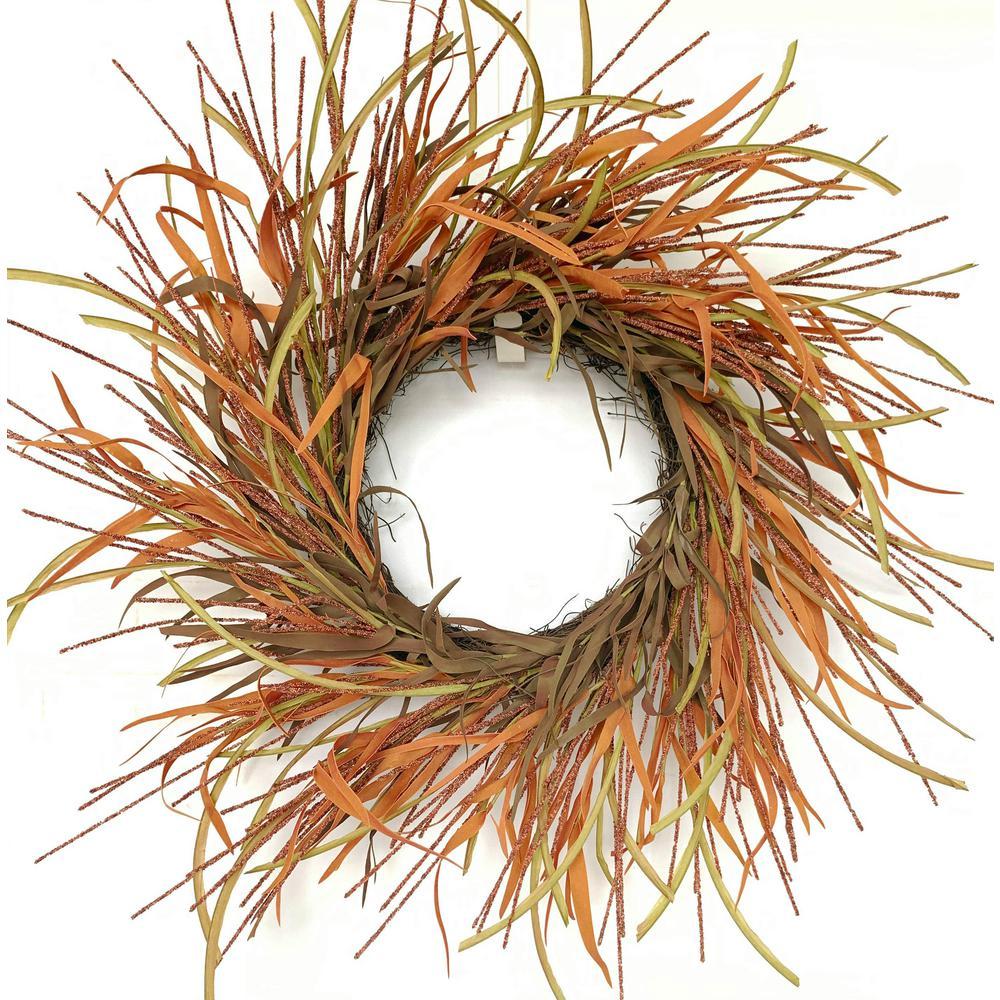 26 in. Unlit Orange Tail Berry Artificial Harvest Wreath