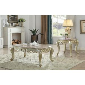 Acme Furniture Gorsedd Marble and Antique White End Table ...