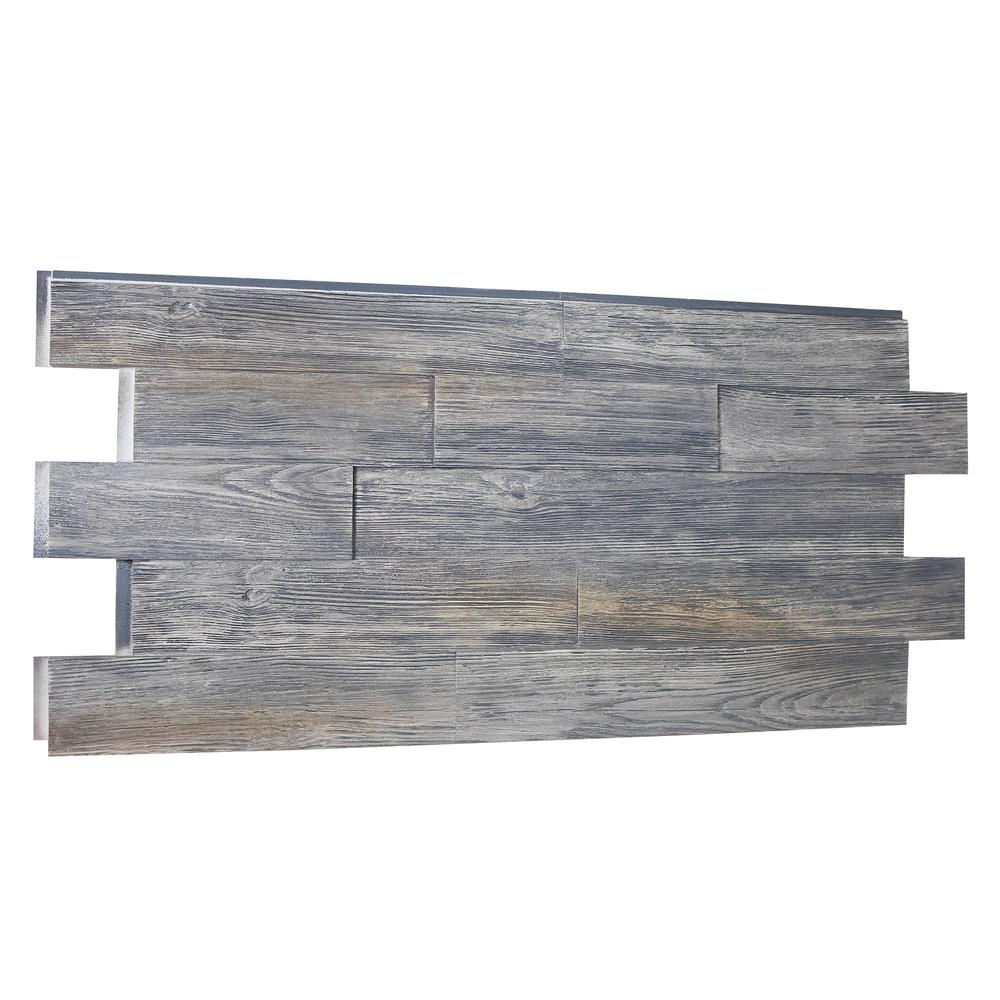 Superior Building Supplies Raised Grain Faux Transitional Panel 1-1/4 in. x 48 in. x 23 in. Weathered Barn Polyurethane Interlocking Panel Superior's 51 in. x 24 in. Raised Grain Transitional Faux Wood Panel (Weathered Barn) Capture the beauty of real wood without the hassle of using real wood. Made of high-density polyurethane, these panels are lightweight and virtually maintenance free. No rotting or insect pest damage to worry about. Installs with screws and adhesive. No special tools required.