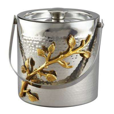 Hammered Stainless Steel Ice Bucket with Golden Vine