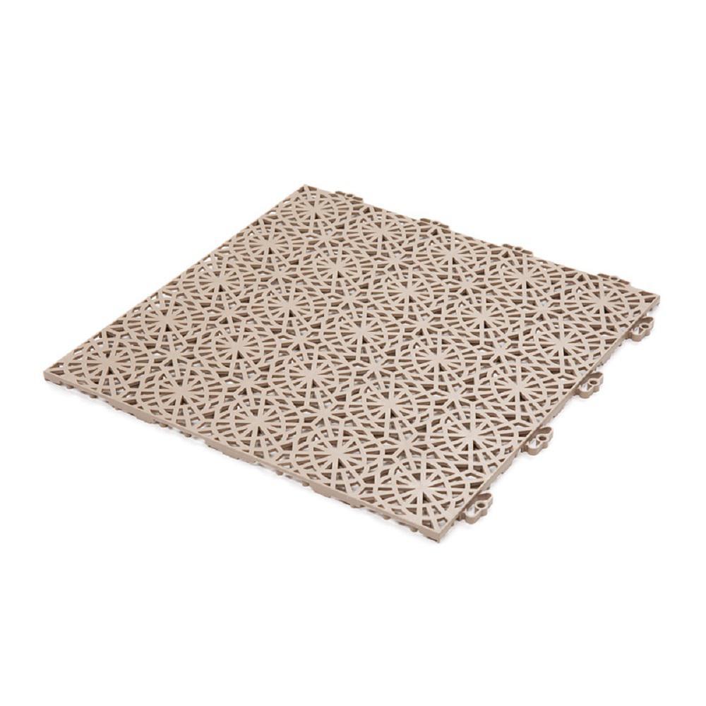 Bergo XL Tiles 1.24 ft. x 1.24 ft. PVC Deck Tiles in Cedar Wood, 14-Tiles per Case, 21.56 sq. ft.