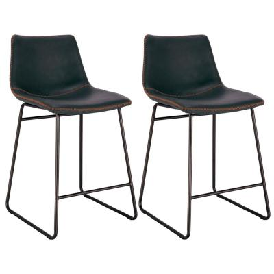 Classic 24 in. Charcoal Gray Faux Leather Bar Stool (Set of 2)
