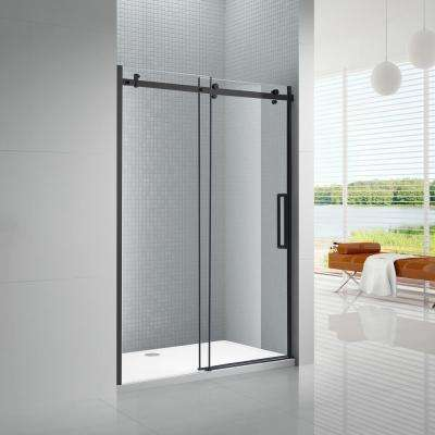 Primo 48 in. x 78 in. Frameless Sliding Shower Door in Black with 8 mm Clear Glass