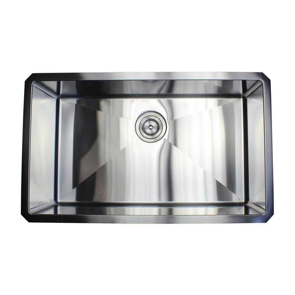 30 in. x 18 in. x 10 in. 16-Gauge Stainless Steel Undermount Single Bowl Kitchen Sink