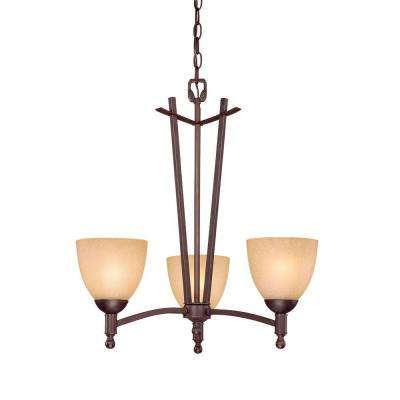 3-Light Rubbed Bronze Chandelier with Florentine Scavo Glass
