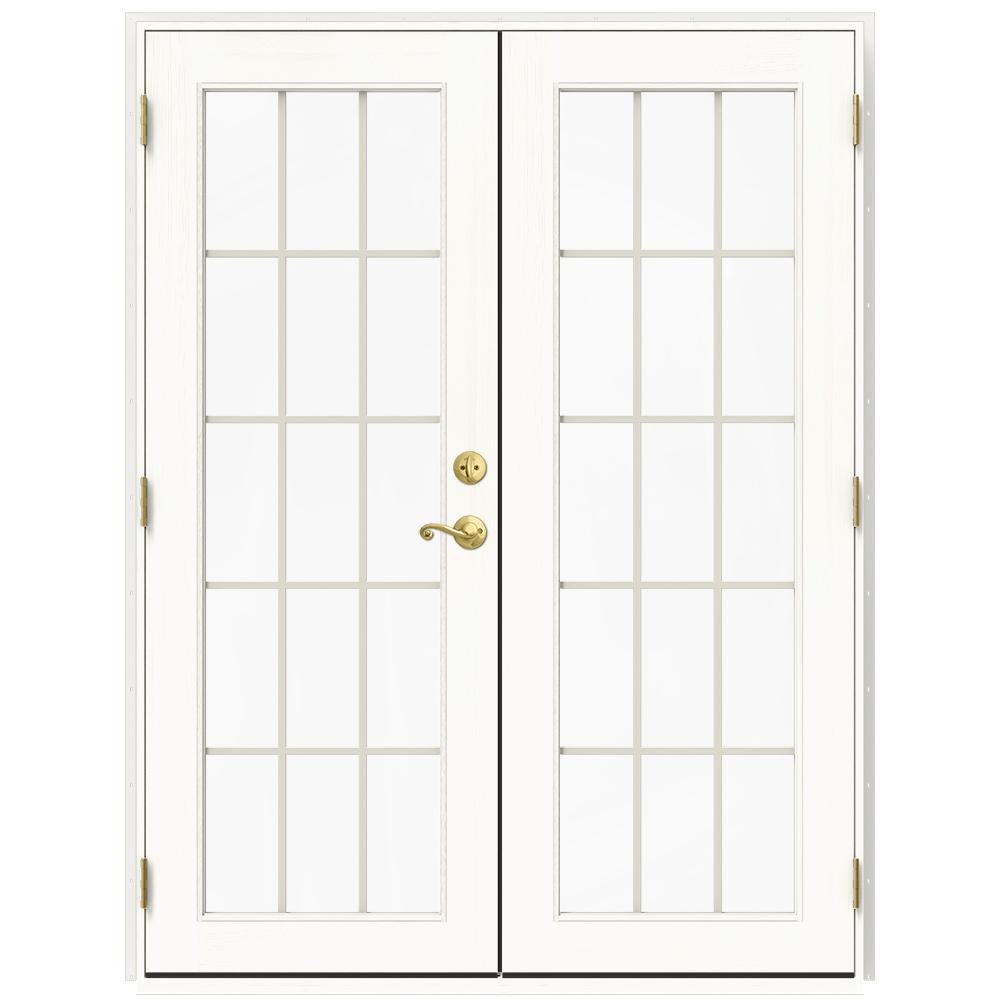 Jeld wen 60 in x 80 in w 2500 white clad wood right hand for 15 lite french door interior