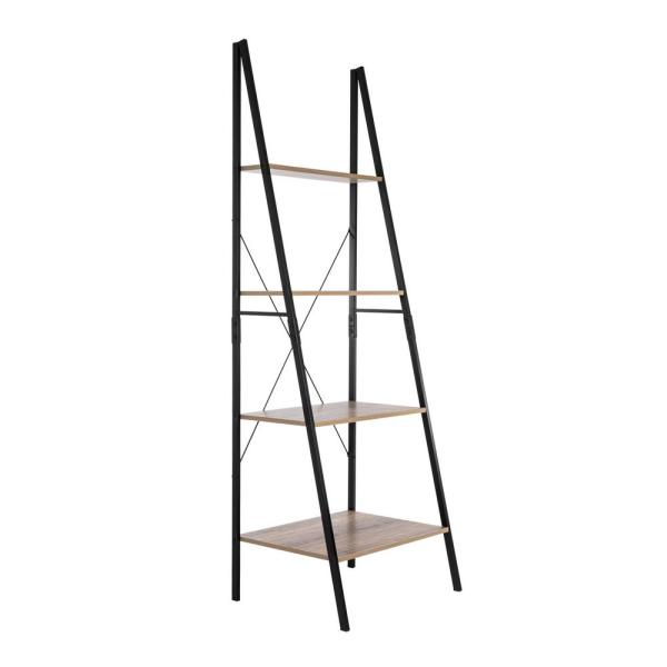 71 in. Weathered/Black Metal 4-shelf Ladder Bookcase with Open Back