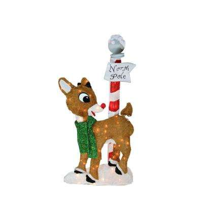 32 in. Christmas Pre-Lit 2-D Rudolph the Red-Nosed Reindeer North Pole Outdoor Decoration
