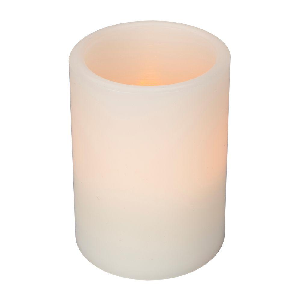 Home Accents Holiday 4 in. Wax Bisque Straight Edge Candle with Timer