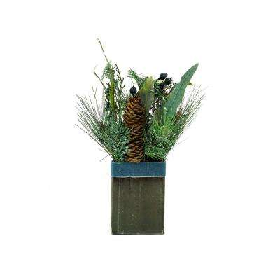 13 in. Square Potted Frosted Blueberry and Pine Artificial Christmas Arrangement