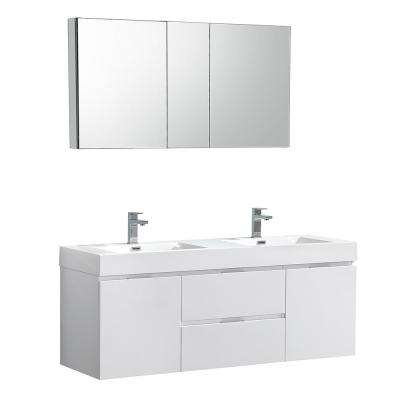 Valencia 60 in. W Wall Hung Vanity in White with Acrylic Double Vanity Top in White with White Basin, Medicine Cabinet
