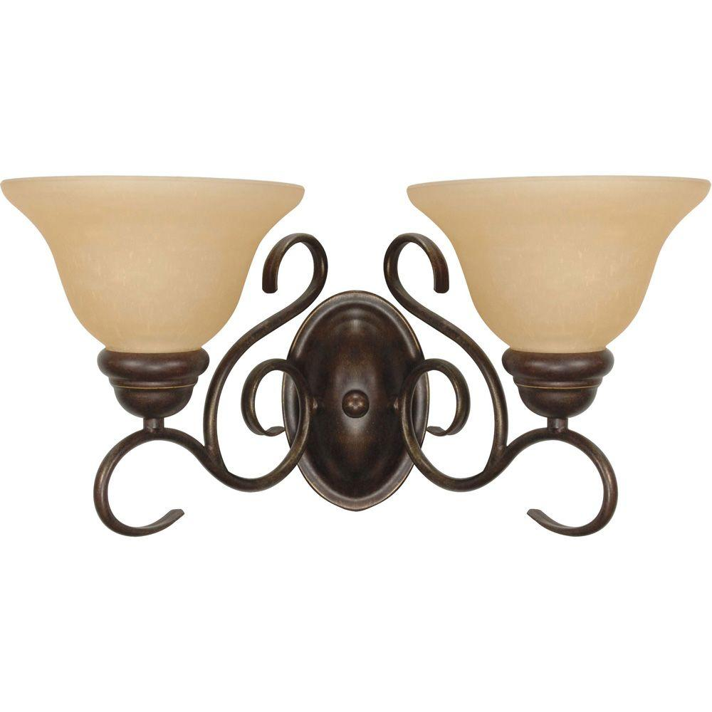 Glomar Adria 2-Light Sonoma Bronze Sconce with Champagne Linen Washed Glass