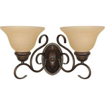 Adria 2-Light Sonoma Bronze Sconce with Champagne Linen Washed Glass