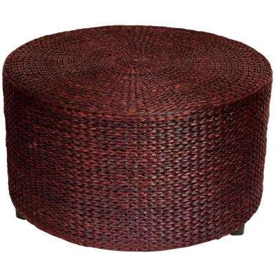 Red and Brown Accent Ottoman