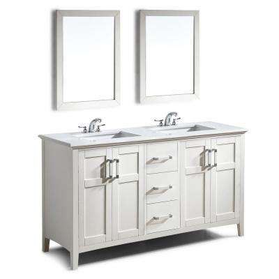 Winston 60 in. Bath Vanity in Soft White with Engineered Quartz Marble Vanity Top in Bombay White with White Basin