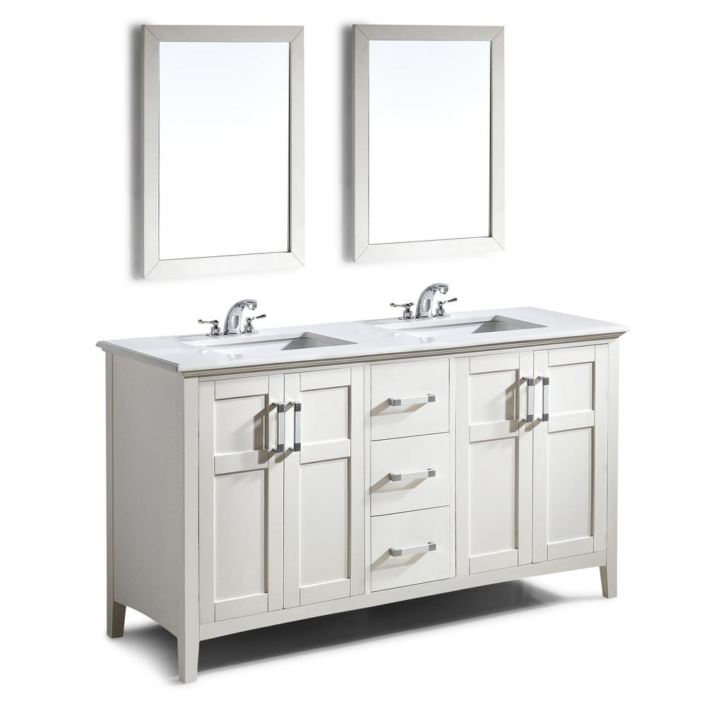 Simpli Home Winston 60 In Bath Vanity With Quartz Marble Top White