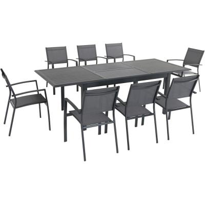 Turner 9-Piece Aluminum Outdoor Dining Set with 8-Sling Dining Chairs and 40 in. x 94 in. Table