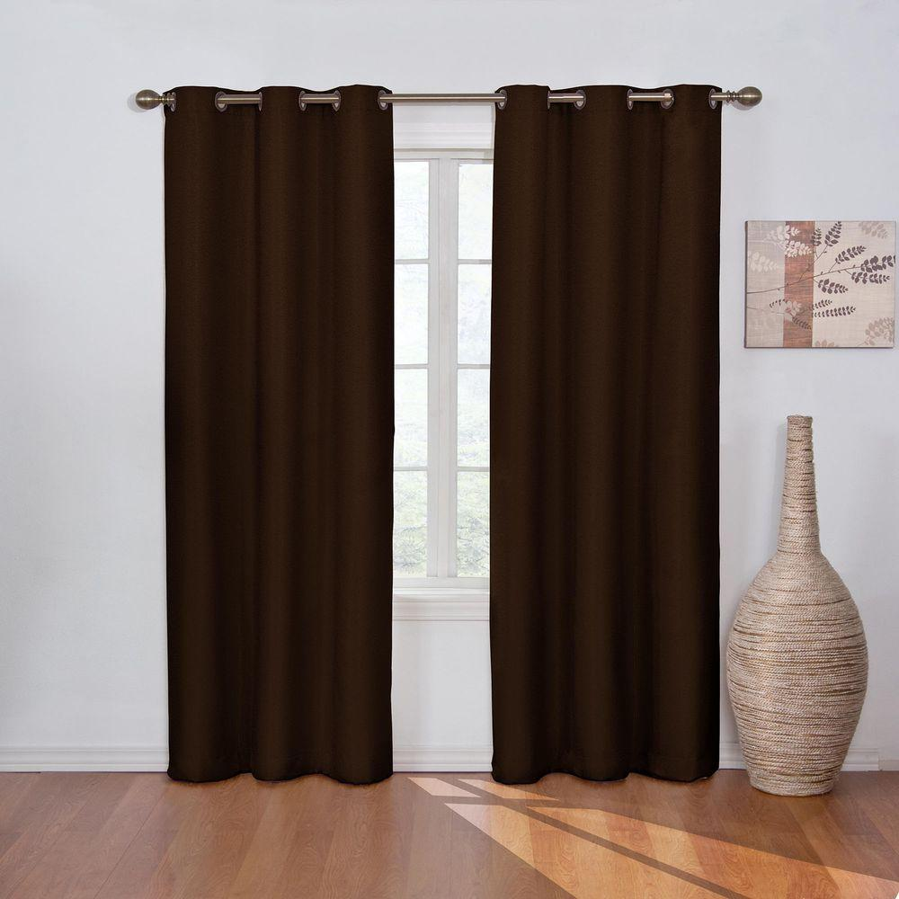 Blackout Madison Chocolate Polyester Grommet Blackout Curtain - 42 in. W