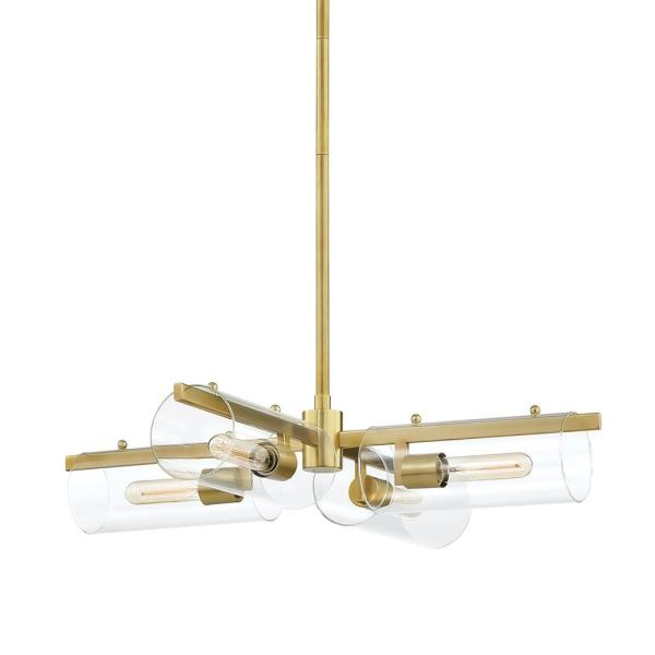 Ariel 4-Light Aged Brass Chandelier with Clear Shade
