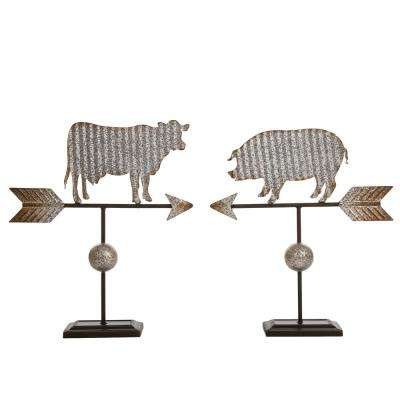16.14 in. H Galvanized Farmhouse Wind Vane Decor-Cow/Pig (Set of 2)