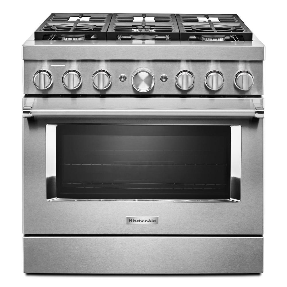 KitchenAid 36 in. 5.1 cu. ft. Smart Dual Fuel Range with ...