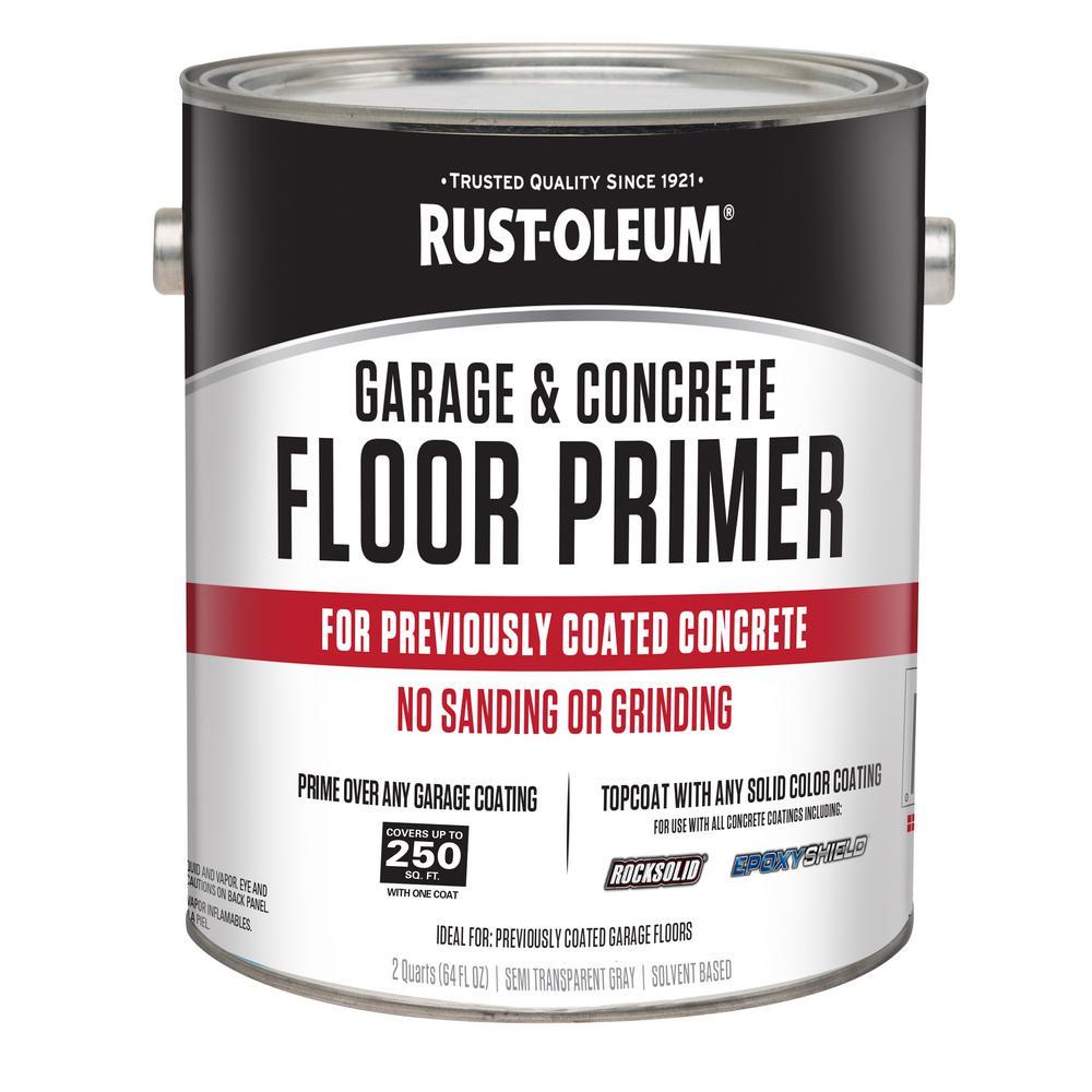 Rust oleum 2 qt garage and concrete interior floor primer 306196 the home depot for Rustoleum exterior concrete paint