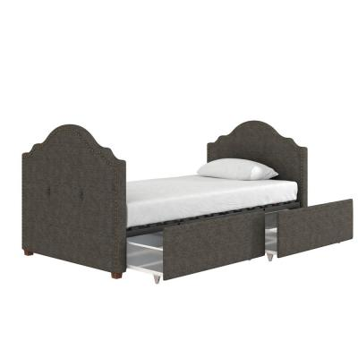 Emma Dark Gray Upholstered Twin Size Daybed with Drawers