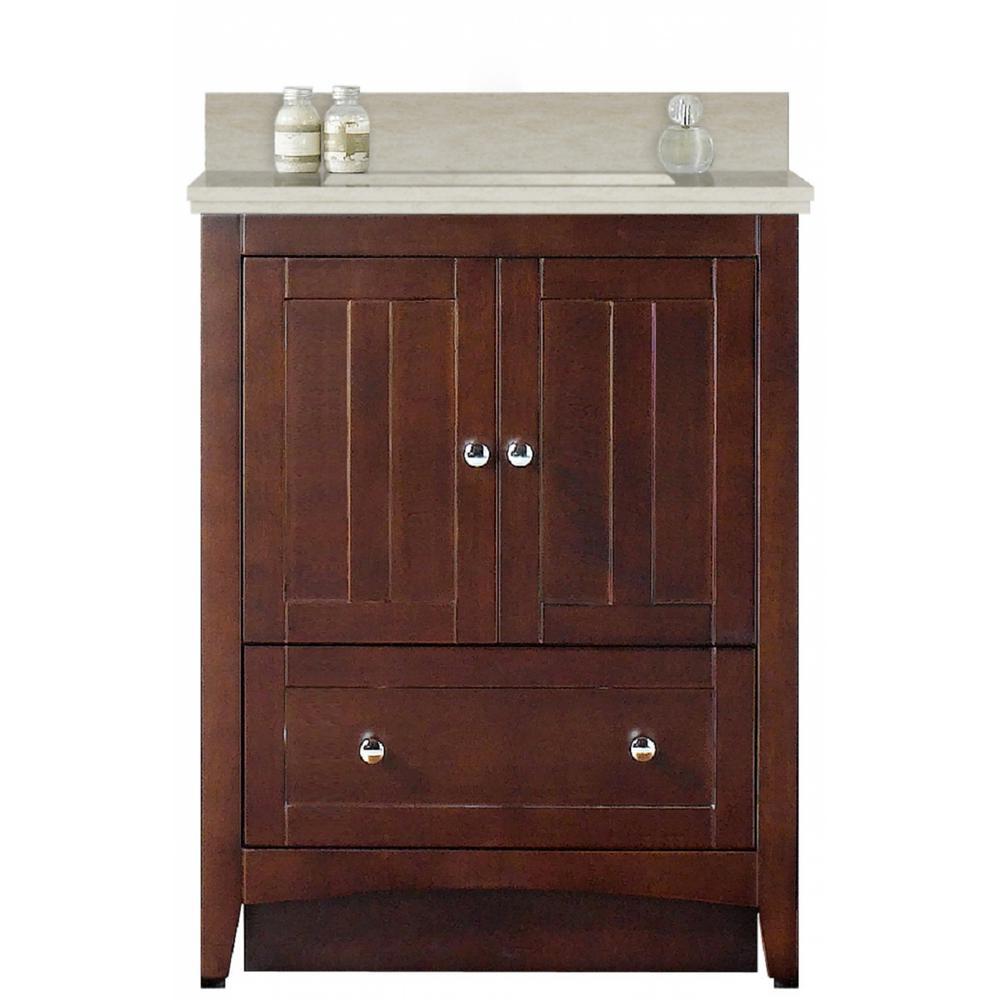 16-Gauge-Sinks 30.5 in. W x 18.75 in. D Bath Vanity in Walnut with Stone Vanity Top in Beige with Biscuit Basin