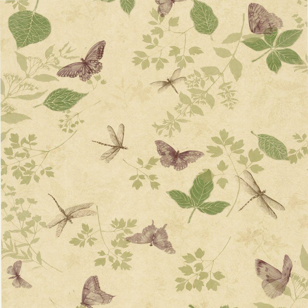 The Wallpaper Company 56 sq. ft. Purple Bugs and Leaf Wallpaper-DISCONTINUED
