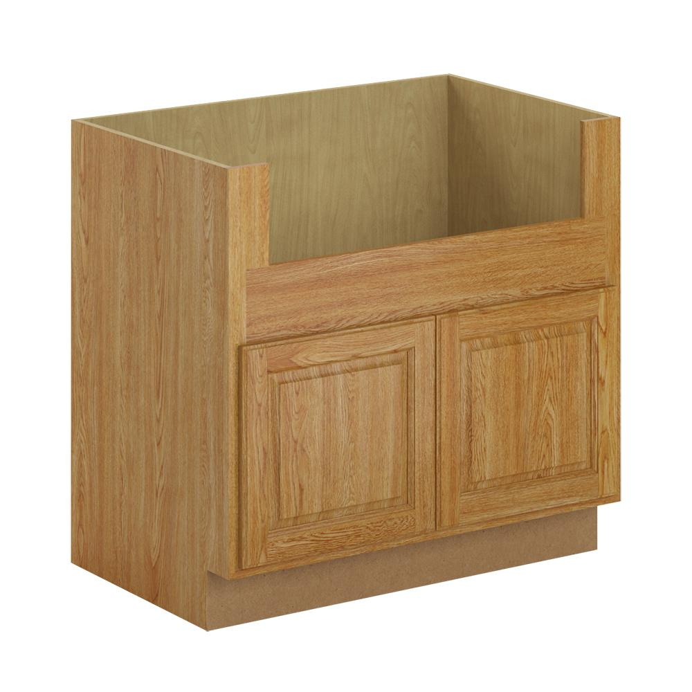 Hampton Bay Madison Assembled 36x34.5x24 In. Farmhouse Apron-Front Sink Base Cabinet In Medium