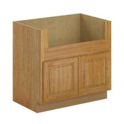 Madison Assembled 36x34.5x24 in. Farmhouse Apron-Front Sink Base Cabinet in Medium Oak