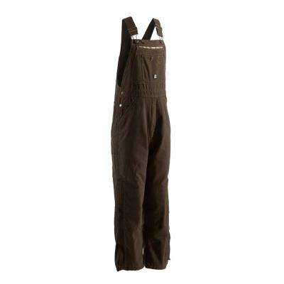 Men's 40 in. x 30 in. Bark 100% Cotton Traditional Washed Bib Overall