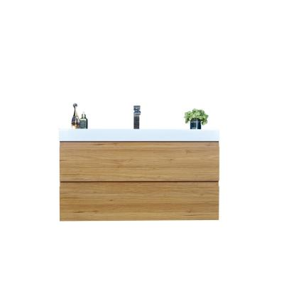 Fortune 40 in. W Bath Vanity in Natural Oak with Reinforced Acrylic Vanity Top in White with White Basin