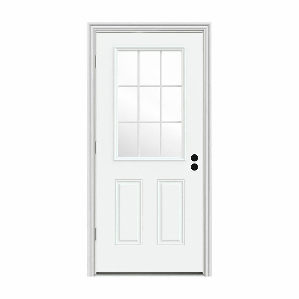 JELD-WEN 36 in. x 80 in. 9 Lite White Painted Steel Prehung Right-Hand Outswing Front Door w/Brickmould