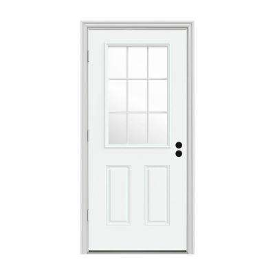 36 in. x 80 in. 9 Lite White Painted Steel Prehung Right-Hand Outswing Front Door w/Brickmould