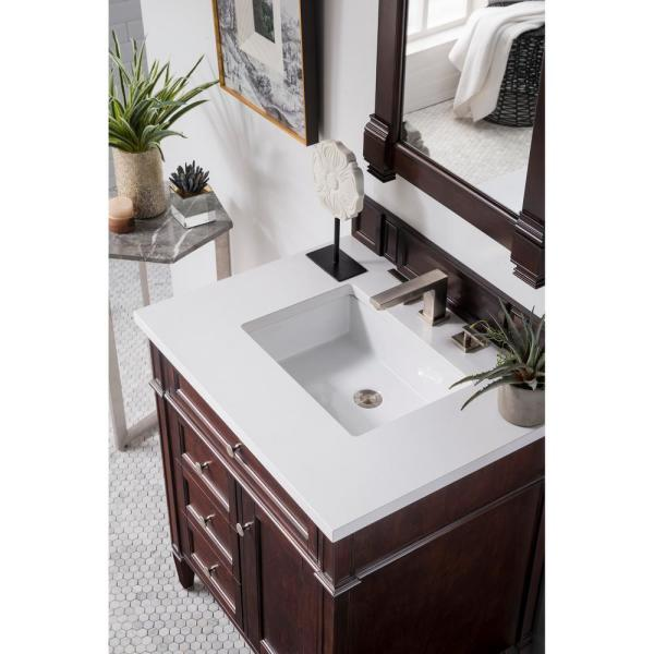 James Martin Vanities Brittany 30 In Single Bath Vanity In Burnished Mahogany With Quartz Vanity Top In Classic White With White Basin 650 V30 Bnm 3clw The Home Depot