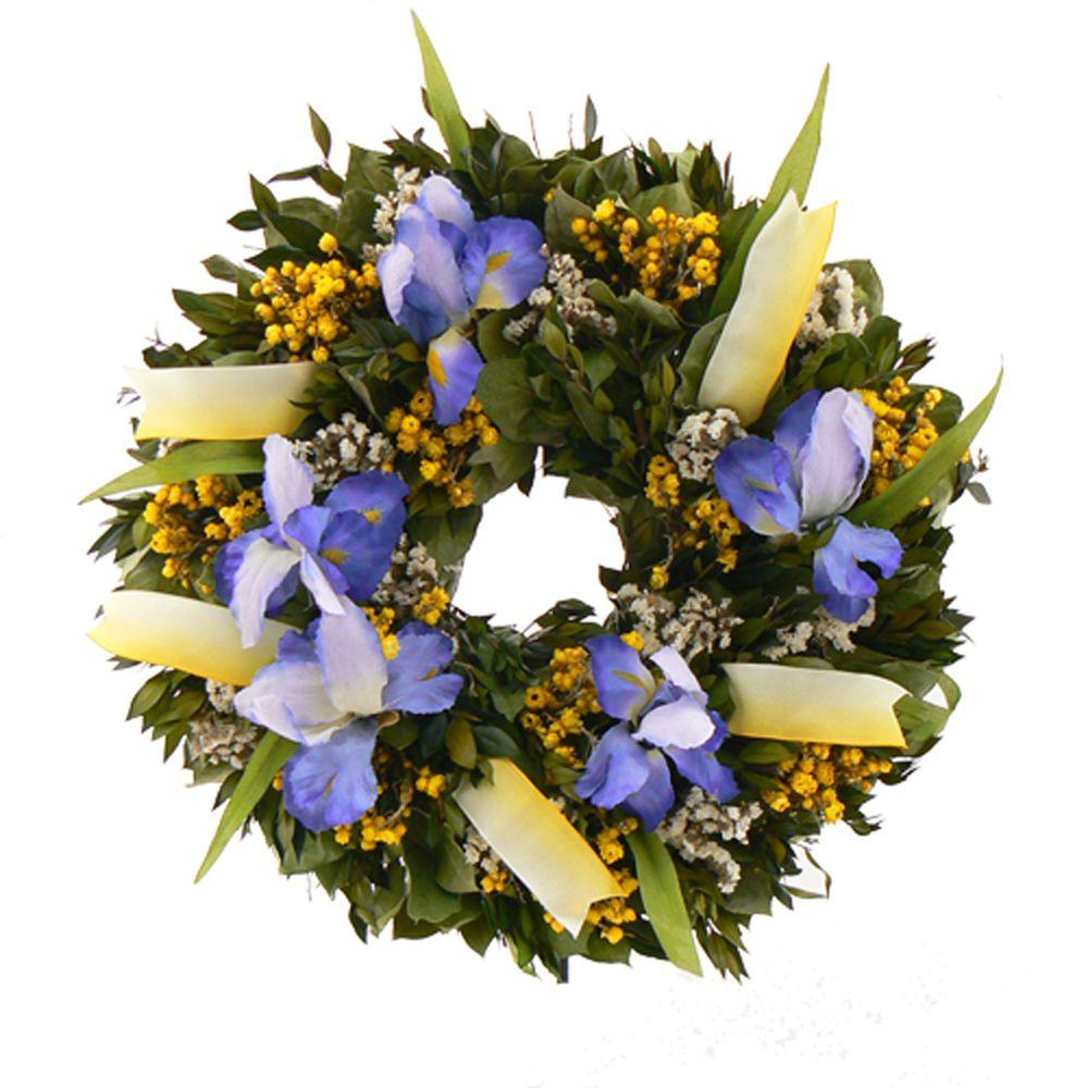 The Christmas Tree Company Iris Wildflower 18 in. Dried Floral Wreath-DISCONTINUED