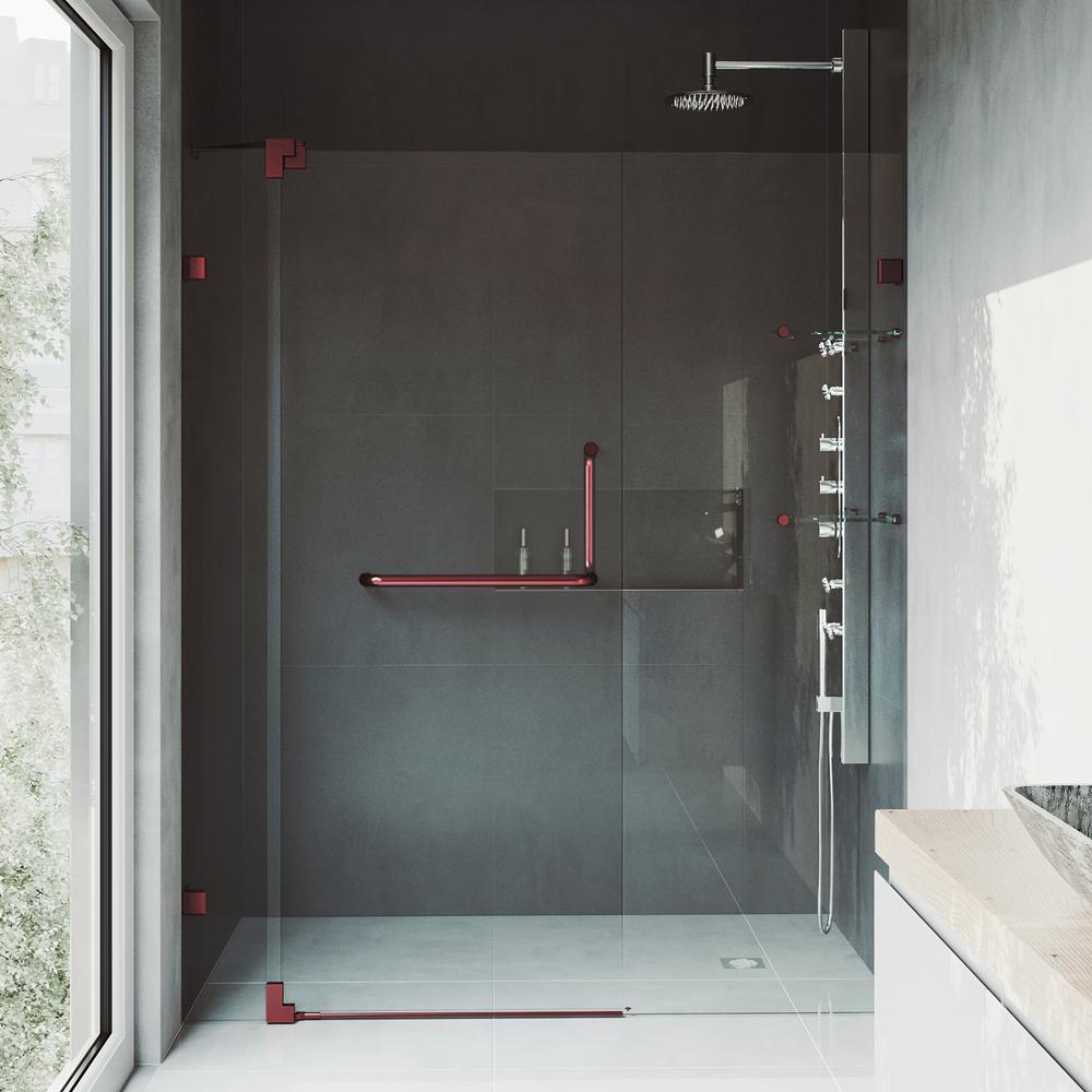 VIGO Orion 34 in. x 58 in. Frameless Curved Pivot Tub/Shower Door in ...
