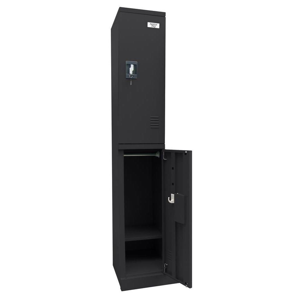 Sandusky 72 in. H x 12 in. W x 18 in. D Quick Assembly Double Tier Locker in Black