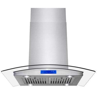convertible island mount range hood in stainless steel with tempered glass
