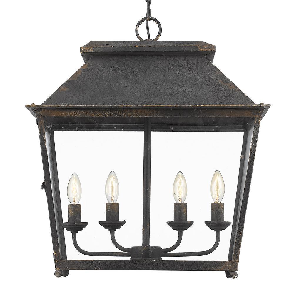 Abingdon Collection 4-Light Antique Black Iron Pendant